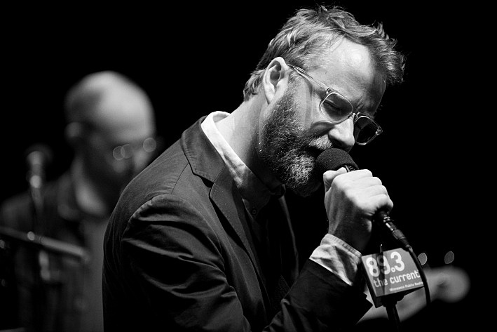 Matt Berninger of The National sound checking in the UBS Forum at Minnesota Public Radio. August 6, 2013.
