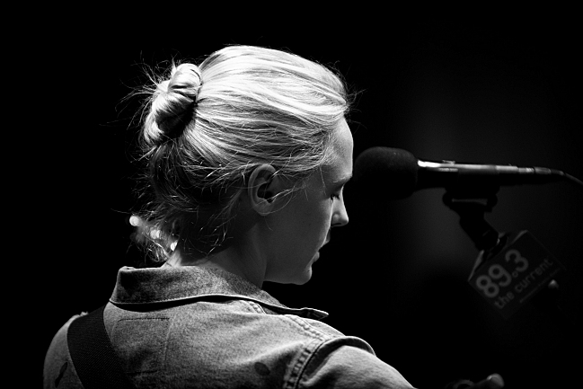 Laura Marling prepares for her intimate show in the UBS Forum at MPR. August 14, 2013.