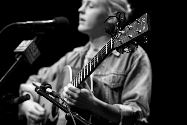 """Laura Marling sings """"Once I Was an Eagle"""" in the UBS Forum. August 14, 2013."""