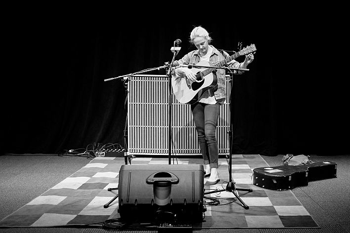 Laura Marling sound checks in Minesota Public Radio's UBS Forum. August 14, 2013.
