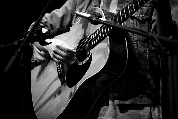 One of Laura Marling's Martin Dreadnought guitars. August 14, 2013.