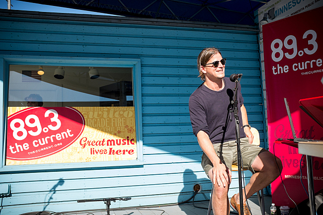 Josh Hartnett does a Theft of the Dial with The Current's Morning Show on the MPR Stage at the Minnesota State Fair. August 23, 2013.