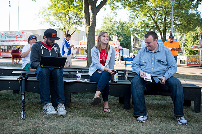 The Current crew and Sean Mcpherson of trivia mafia relax between breaks while The Current broadcasts live from the MN State Fair. August 23, 2013.
