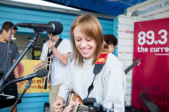 Lydia Hoglund of Bomba De Luz prepares to perform on the MPR stage at the Minnesota State Fair. August 23, 2013.