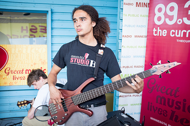Gavin Taylor-Stark of Bomba De Luz prepares to perform on the MPR stage at the Minnesota State Fair. August 23, 2013.