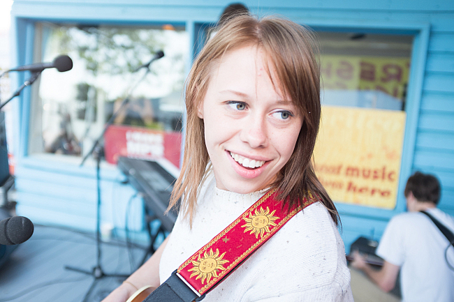 Lydia Hoglund of Bomba De Luz sound checking on the MPR stage at the Minnesota State Fair. August 23, 2013.