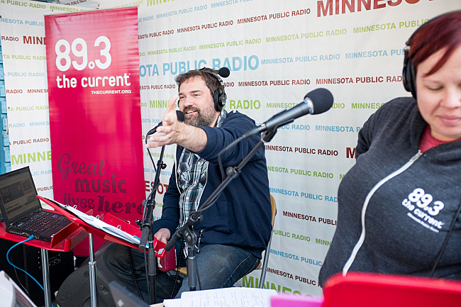 Steve Seel broadcasts live on the MPR stage at the Minnesota State Fair. August 23, 2013.