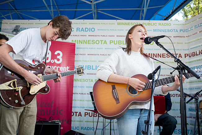 Bomba De Luz performs live on the MPR stage at the Minnesota State Fair. August 23, 2013.
