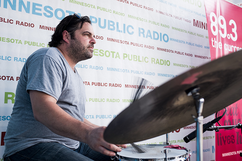 JT Bates plays drums in Frankie Lee's band during a live performance at the State Fair.
