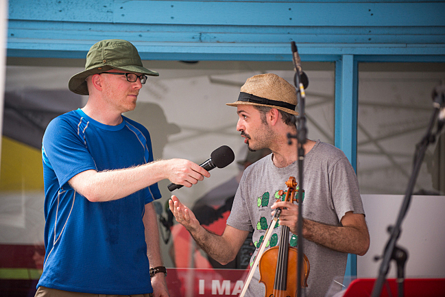 Fred Child and Colin Jacobsen of Brooklyn Rider at the 2013 Minnesota State Fair