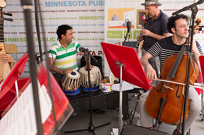 Sandeep Das, Evan Ziporyn, and Eric Jacobsen at the 2013 Minnesota State Fair