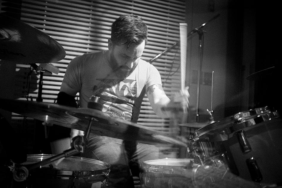 Drummer Matt Baum of Desaparecidos.