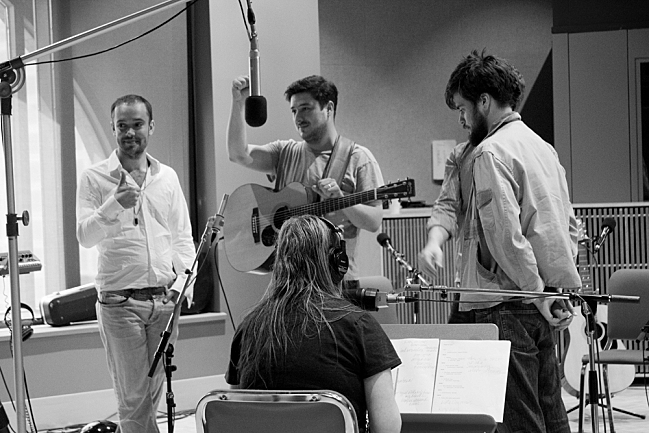 """Mumford & Sons wrapping up their """"Reminder"""" performance in The Current studios. September 4, 2013."""