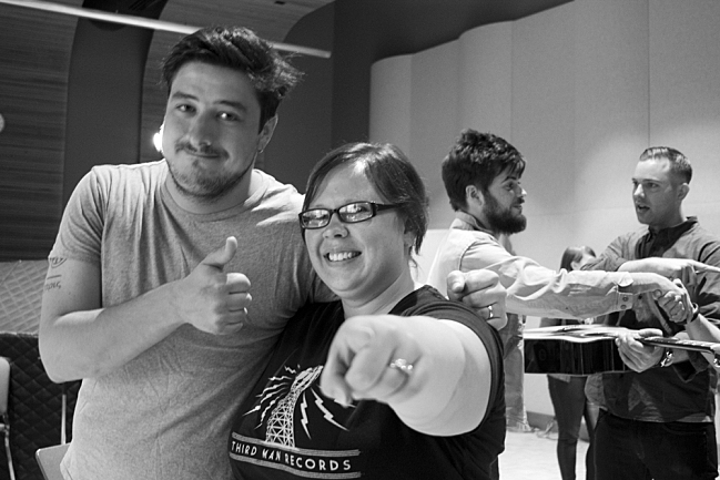 Jilly Riley of The Current's Morning Show strikes a pose with frontman Marcus Mumford. September 4, 2013.