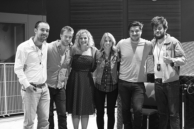 Mumford & Sons with the Xcel Energy Center's Reina Porritt and Jora Bart in The Current studios. September 4, 2013.