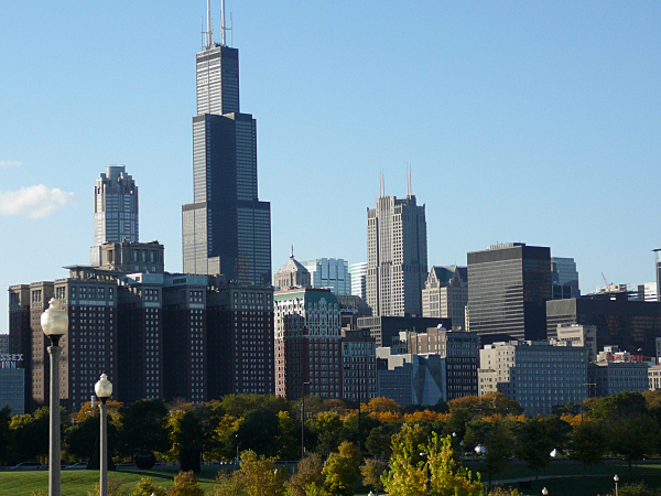 View of part of Chicago's skyline, including the Willis Tower.