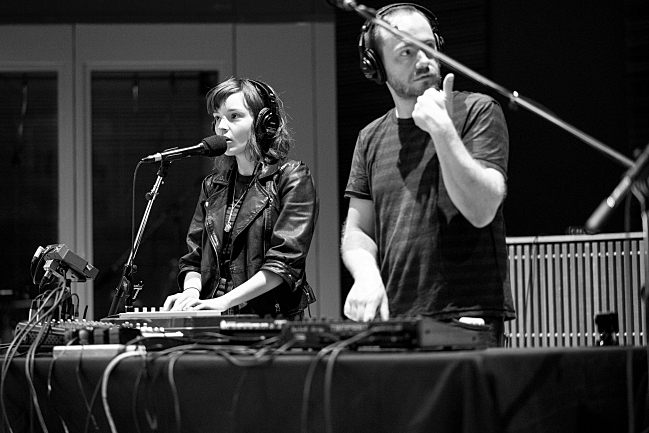 Chvrches in the studios of 89.3 The Current,