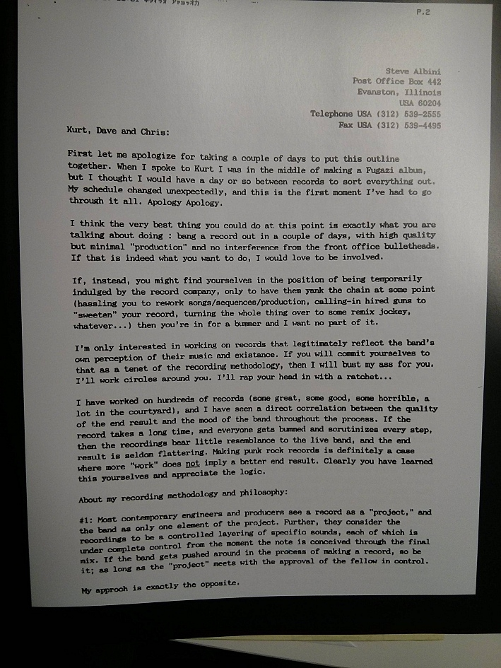 Steve Albini's letter to Nirvana, page 1