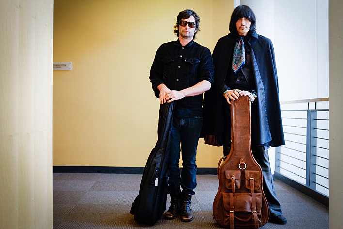 Pete Yorn and J.D. King of The Olms with guitars in hand before performing live in The Current studios.