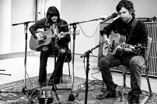 J.D. King and Pete Yorn of The Olms sound check in The Current studios.