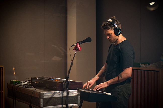 Nathan Willett of Cold War Kids practices keys before performing live in The Current studios.