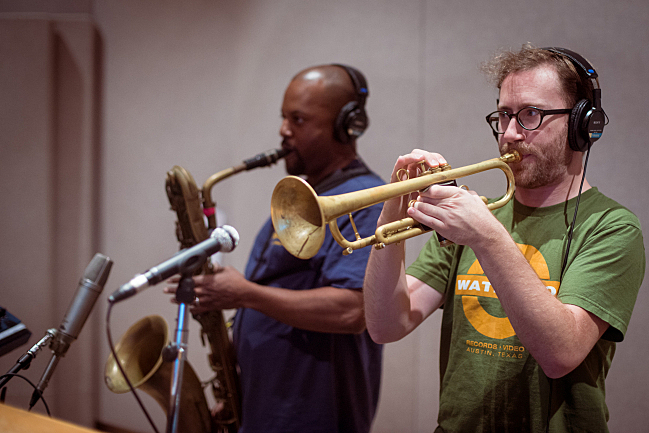 Black Joe Lewis trumpeter Derek Phelps and tenor saxophonist Jason Frey performing with Black Joe Lewis in The Current studios.