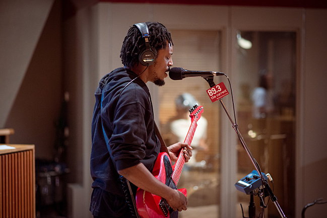 Black Joe Lewis sound checks in The Current studios.