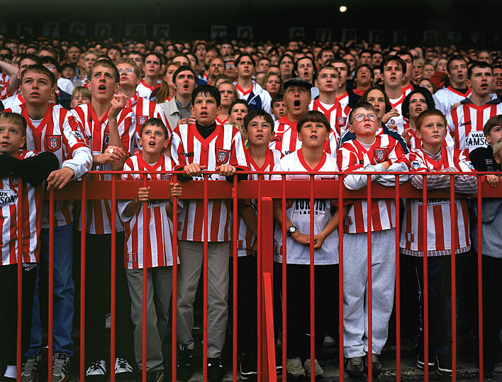 Sunderland fans follow the action on the pitch.