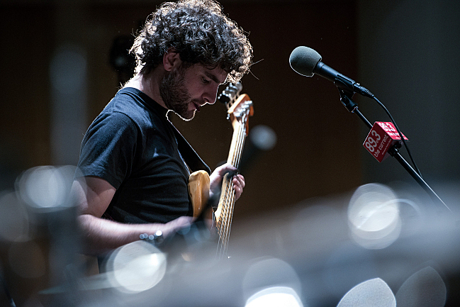 Chris Bierden plays his bass live in the UBS Forum at Minnesota Public Radio.