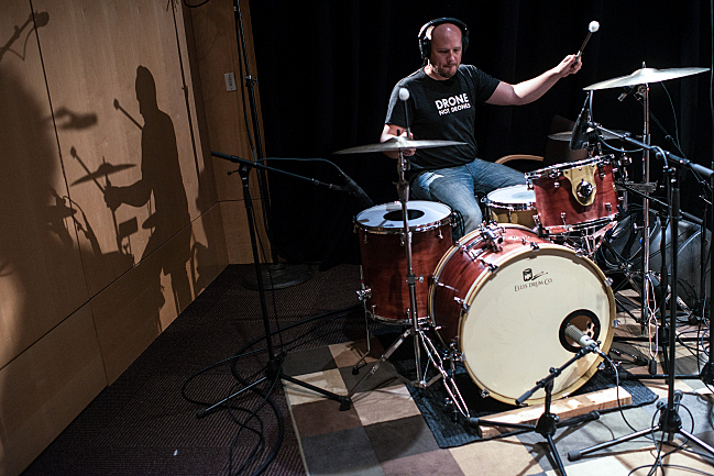 Drummer Ben Ivascu performs live with Polica in the UBS Forum at Minnesota Public Radio.