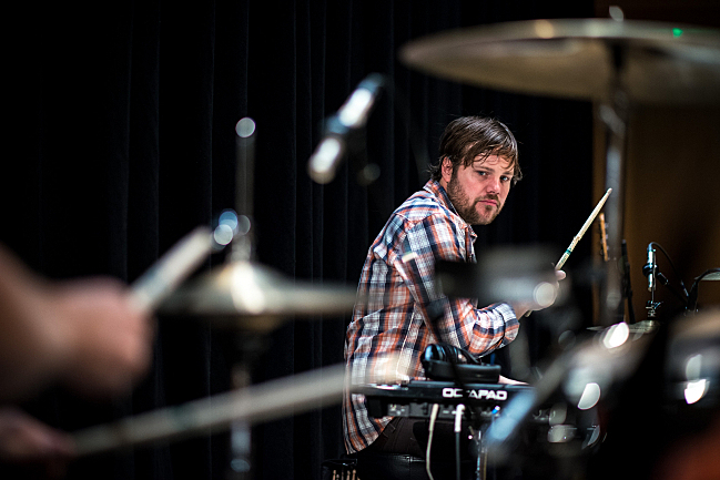 Drew Christopherson of Polica plays his drum set in the UBS Forum at Minnesota Public Radio.