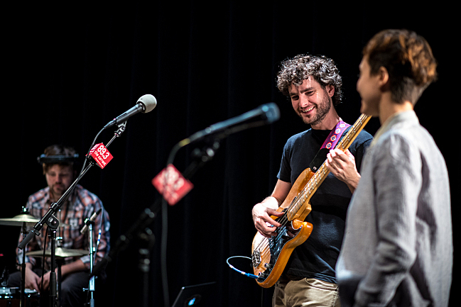 Drummer Drew Christopherson, bassist Chris Bierden and vocalist Channy Leaneagh of Polica in the UBS Forum at Minnesota Public Radio.