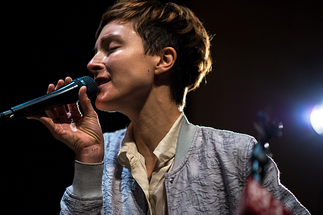 """Channy Leaneagh of Polica sings """"Chain My Name"""" live in the UBS Forum at Minnesota Public Radio."""