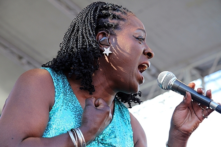 Sharon Jones & The Dap-Kings performing at Rock the Garden 2010.