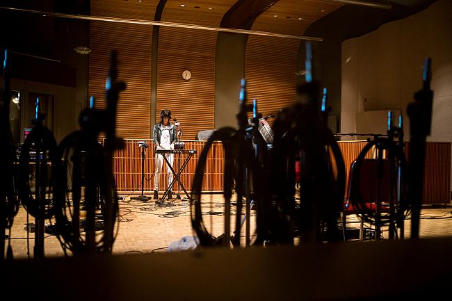 Phantogram sound checks live in The Current studios.