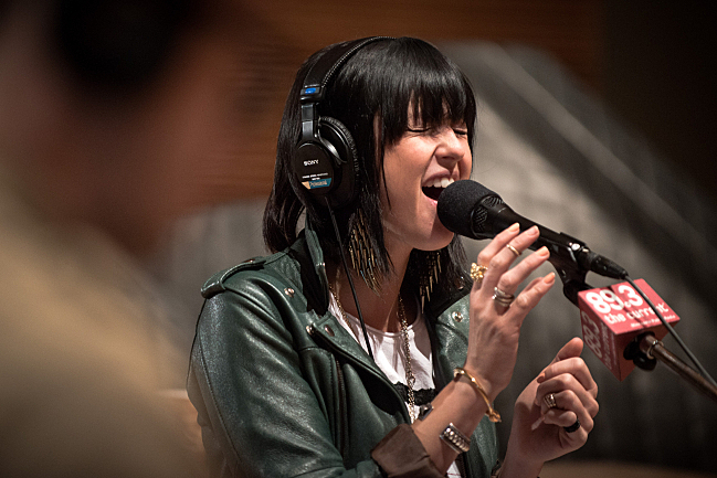 """Sarah Barthel sings """"Black Out Days"""" live in The Current studios."""