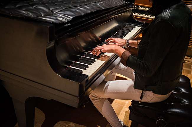 Sarah Barthel takes a break to play the piano before performing live in The Current studios.