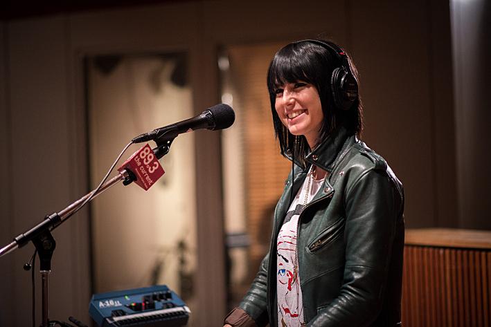 Sarah Barthel of Phantogram sound checks in The Current studios.