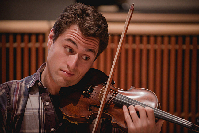 Joel Link of the Dover Quartet performs in the studios at American Public Media
