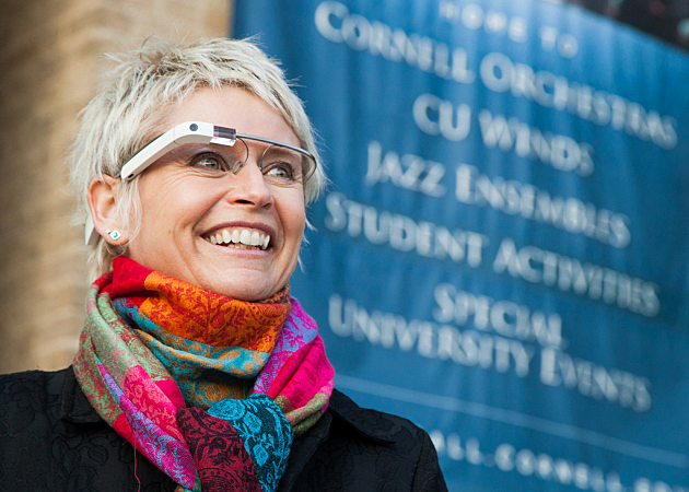 Cynthia Johnston Turner wearing Google Glass.