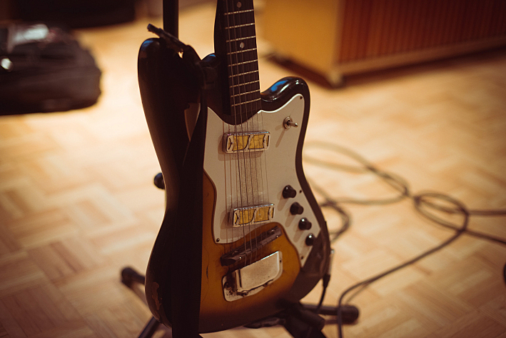 Till Timm's Harmony guitar, in studio at The Current.