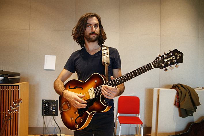 Jonathan Russell of The Head and the Heart with his 1976 Guild Starfire guitar.