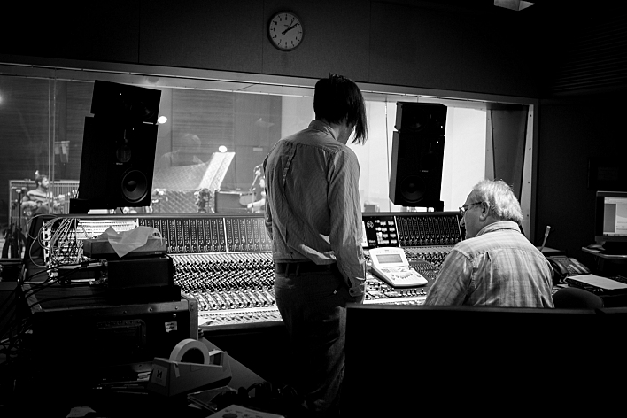 of Montreal frontman Kevin Barnes hangs out with engineer Mike DeMark in The Current studios.