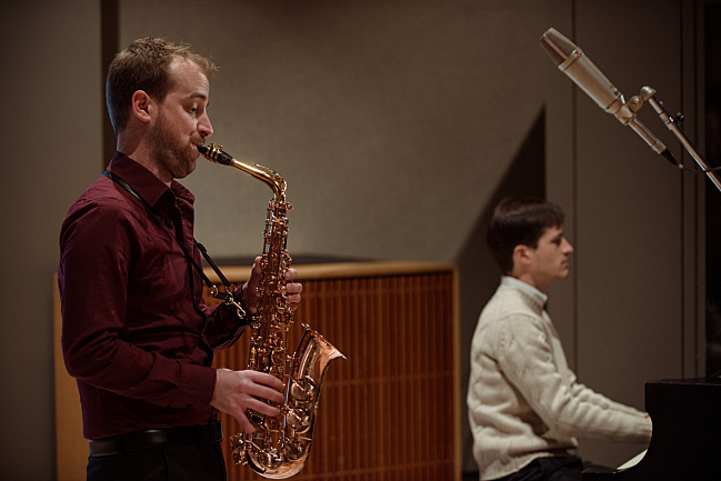Saxophonist Jonathan Wintringham and pianist Michael Djupstrom perform in the studios at American Public Media