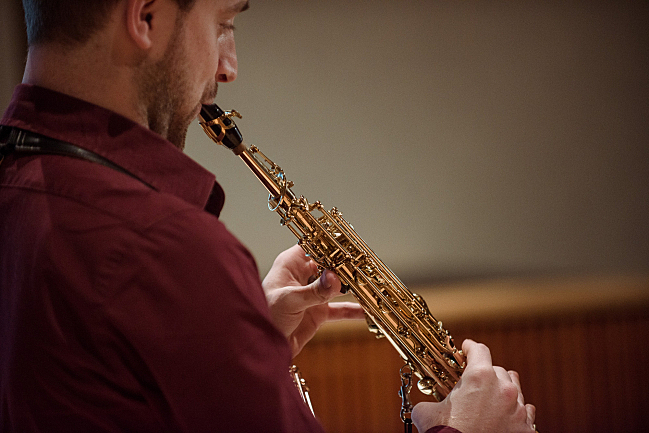 Saxophonist Jonathan Wintringham performs in the studios at American Public Media