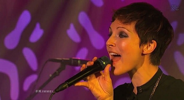 Polica performing on <em>Jimmy Kimmel Live</em>.