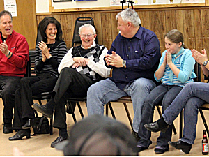 Harry Walsh, former pastor of St. Henry Catholic Church, during festivities in his honor Nov. 12, 2011 at the Monticello VFW Post.