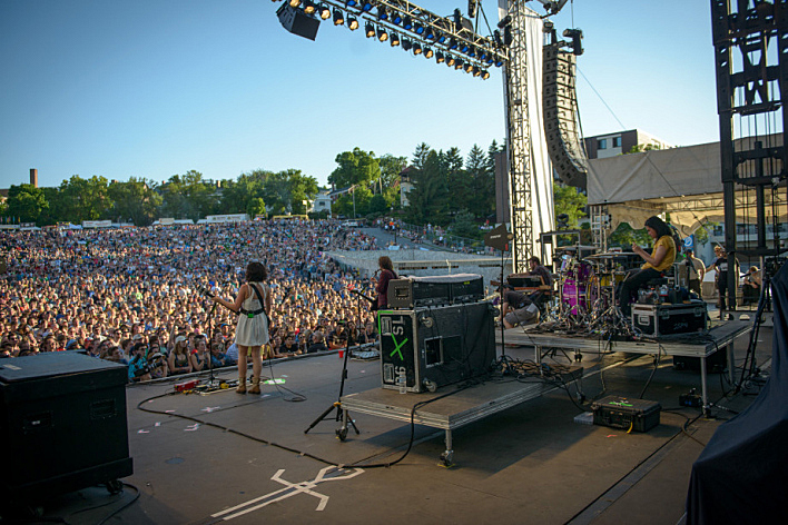 Silversun Pickups perform on stage at Rock the Garden 2013.