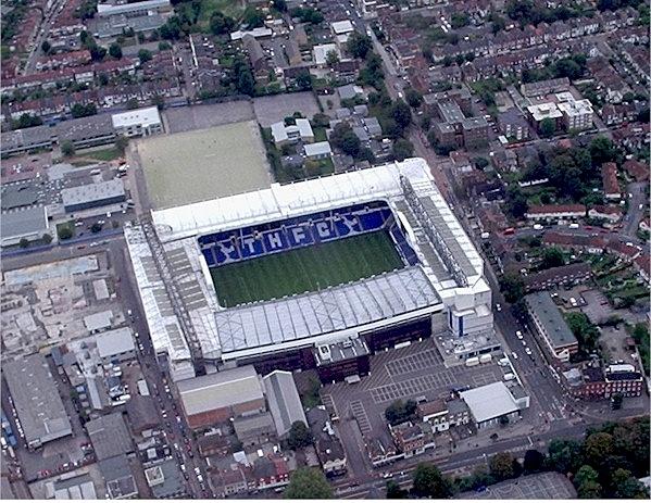 Aerial view of White Hart Lane, home ground of Tottenham Hotspur Football Club.