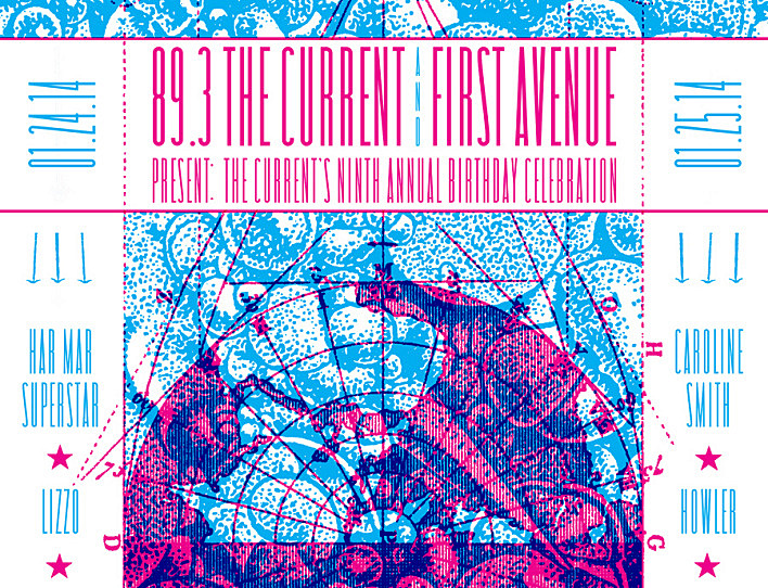 Detail of The Current Birthday Party two-color silkscreen poster, presented by www.PressedMerch.com and designed and printed by Johnny Quinine.
